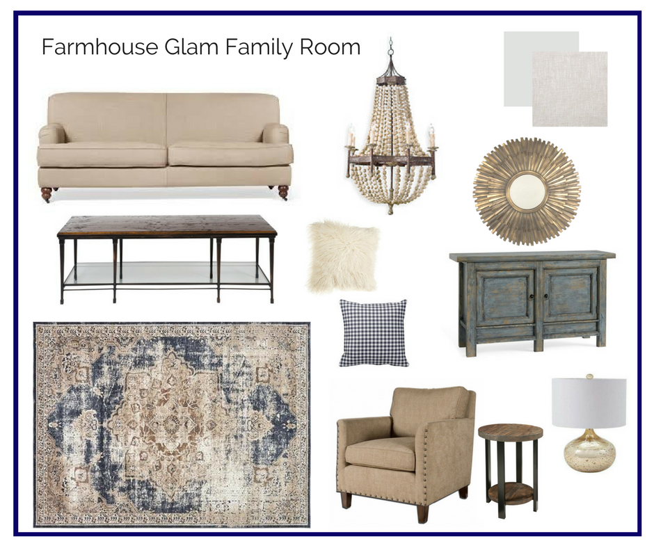Gentil Room In A Box: Farmhouse Glam Family Room