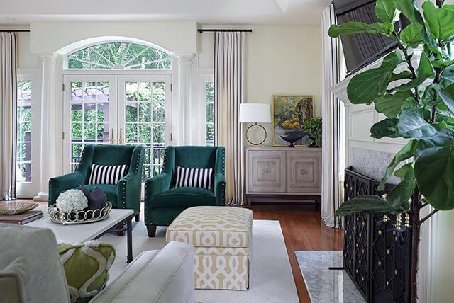 Sleek modern family room with grey furniture