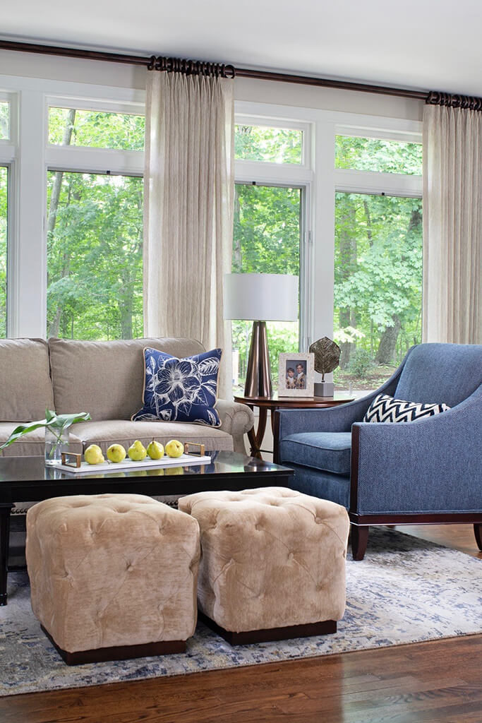 Bright living room with blue chairs